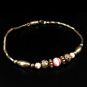 Vintage Liquid silver pink cat's-eye bracelet
